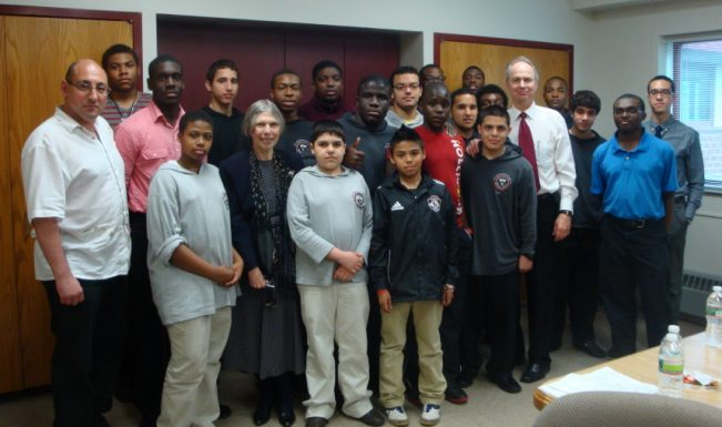 Robert Schultz and Hudson Review editor Paula Deitz worked with students at St. Benedict's Preparatory School, Newark, NJ, as part of Hudson's Writers in the Schools program.