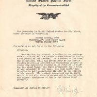 Commendation from Admiral Nimitz