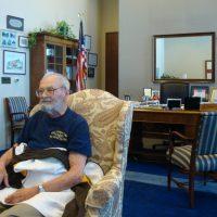 Bob relaxes in Senator Harkin's office.